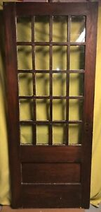 Antique Arts Crafts Wood Exterior French Entry Door W 20 Glass Panes 34x82