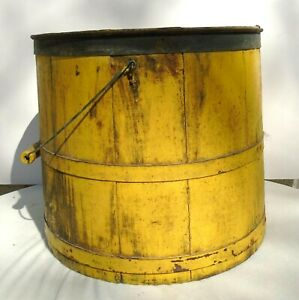 Antique Primitive Staved Wood Bucket Wire Bail Handle Metal Bands Mustard Paint