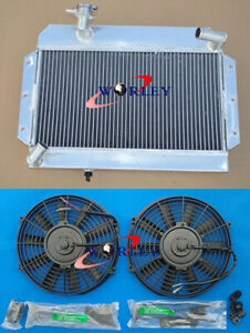 56mm Aluminum Radiator 2 Fan For Rover Mg Mga 1500 1600 1622 De Luxe