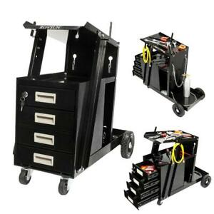 Heavy Duty 4 Drawer Welding Cart Mig Tig Arc Plasma Cutter Tank Storage Black