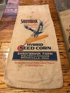 Vintage Shadybrook Eagle Seed Corn Feed Sack Brookville Ohio Hybrid Bag Cloth