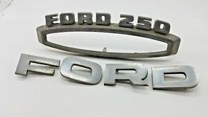 Vintage Ford F250 Hood Emblem Badge Set