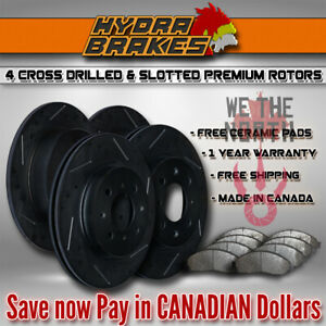 Fits 2003 2004 Ford Expedition 4wd Drill Slot Brake Rotors Ceramic Blk