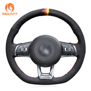 Black Suede Steering Wheel Cover Hand Sewing For Vw Golf 7 Gti Golf R Mk7 Polo