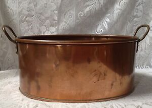 Antique Copper Planter With Brass Riveted Handles Soldered Joins