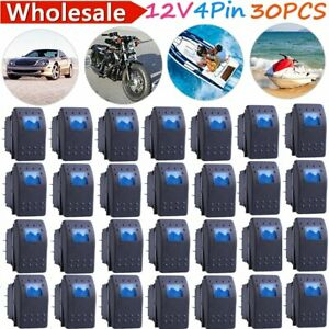 30x Waterproof Marine Boat Car Rocker Switch 12v Spst On off 4pin 4p Led Blue My
