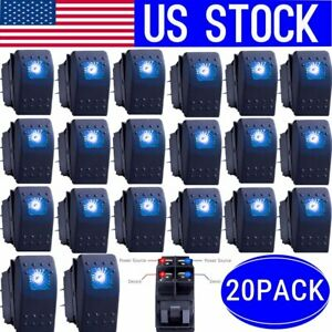 20x Waterproof Marine Boat Car Rocker Switch 12v Spst On off 4pin 4p Blue Led My