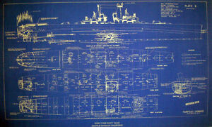 Us Navy Ww2 War Damage Shipyard Repair Blueprint Uss Houston Cl81 19x32 150