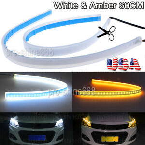 Us 60cm Led Switchback Car Headlight Sequential Drl Light Strip Tube White Amber
