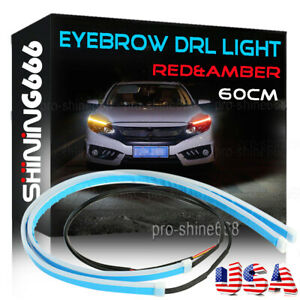 Us 60cm Led Switchback Car Headlight Sequential Drl Light Strip Tube Red