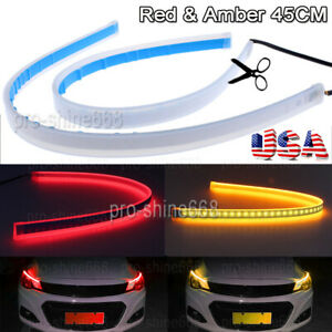 45cm Red Amber Flexible Switchback Led Knight Rider Strip Light Sequential Usa