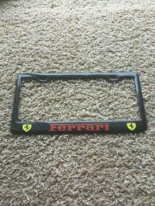 Black ferrari License Plate Frame Custom Real Carbon Fiber No Vinyl Red