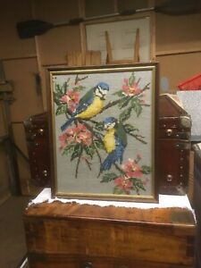Beautiful Fine Vintage Art Tapestry Exotic Birds In Tree Scene Wall Hanging Gift