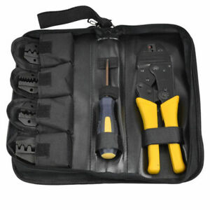 Insulated Cable Crimper Tool Kit Wire Terminal Ratchet Plier Crimping With 5 Die