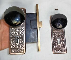 Antique Vintage Set Eastlake Backplates Black Porcelain Door Knobs Mortise Lock