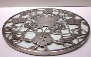 999 Fine Not Sterling Silver Overlay And Glass Trivet Marked And 9 Diameter