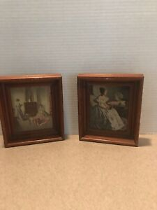 Pair Of Antique Wood Frames W Victorian Prints