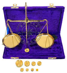 Vintage Polished Brass Jewellery Balance Scale With Velvet Box Complete Weight