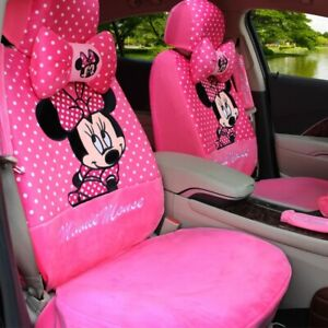 Winter Plush Mickey Cartoon Cushion Full Car Seat Covers Universal Fit Pink 15pc