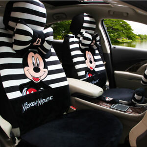 Winter Plush Mickey Cartoon Cushion Full Set Car Seat Covers Universal Fit Black