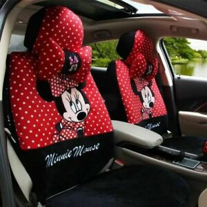 Winter Plush Mickey Cartoon Cushion Full Set Car Seat Covers Universal Fit Red