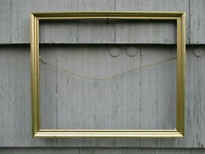 Vintage Modern Silver Gold Wood Picture Frame With Glass Fits 12 1 4 X 15 1 4