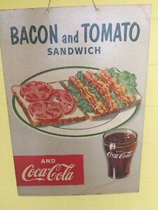 VINTAGE COCA COLA BACON AND TOMATO CARDBOARD 1953 HANGING SIGN