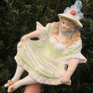 Naughty Girl Antique German Bisque Porcelain Victorian Lady Jewelry Ring Holder