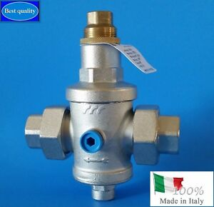 Water Pressure Reducing Valve 3 4 Npt Threaded Double Union made In Italy