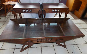 Mahogany Mid Century Coffee Table End Tables Table Set Ct206