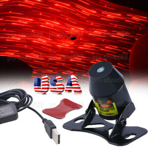 Us Car Red Led Star Light Usb Interior Atmosphere Projector Meteor Star Lamp Kit