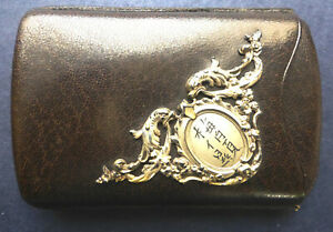 Antique Chinese Leather Card Case With Silver Decoration 1908 1935