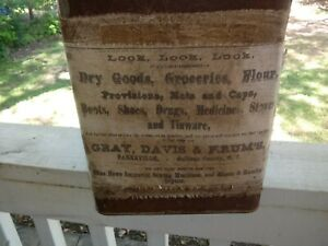Antique 5 Gal Can Cloth Ad Gray Davis Krum Dry Goods Co Can 14x9x9 Inchs