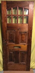 Antique Arts Crafts Wood Exterior French Entry Door W 8 Pane Glass 32x78