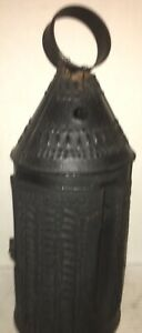 Orig Revolutionary War Era 14 Early Antique Punched Camp Tin Candle Lantern