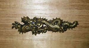Used Menuki Japan Katana Antique Tanto Samurai Sword Fittings Brass Dragon Rare