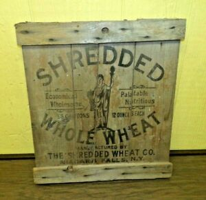 Vtg Antique Primitive Shredded Wheat Advertising Wood Crate Box End Wall Art