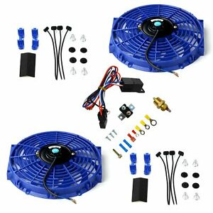 2x 12 Electric Cooling Fan Push in Radiator Fin Probe Thermostat Set Blue