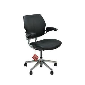 Humanscale Freedom Chair Recovered In New Leather Aluminium Frames