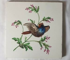 Stunning French Hand Painted Bird Design Tile 19thc Montreau Lm Cie Creil