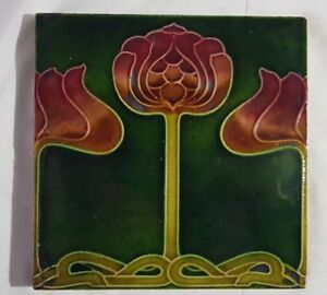 English Floral Art Nouveau 6 Inch Antique Tile In The Style Of Glasgow School