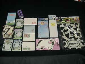 Huge Vintage 80 s 90 s Cows Post it Memo Notes W memoos Fabric Note Pad Holder