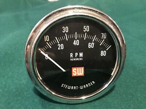 8k Stewart Warner Tachometer Tach 8000 Rpm Sw Hot Rat Rod Gasser