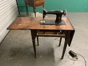 As Is Vintage Singer Sewing Machine With Storing Table