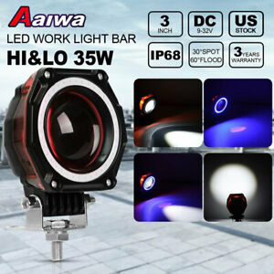 3inch 35w Round Led Work Light Hi Lo Beam Red Drl Offroad Truck 4x4 Driving Lamp