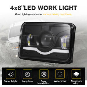 4x6inch 75w Cree Led Headlights Projector Sealed High Low Beam Red Drl Headlamps