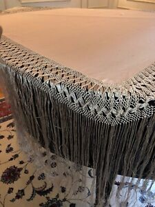 Antique Silk Piano Scarf Long Fringe Textile Table Linen Scarf Wrap 47x97 65 Off