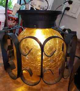 Vintage Black Wrought Iron Ceiling Mount Light Lamp Spanish Gothic Crackle Glass