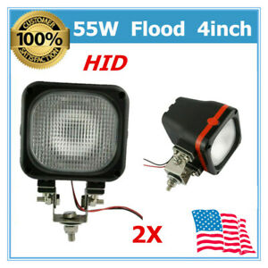A Pair 55w 12v Dc Flood Beam Led Hid Xenon Lights Fit Driving Ute Trailer 35 60w