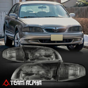 Fits 1998 1999 Mazda 626 chrome smoke Crystal Corner Headlight Headlamp Lamp
